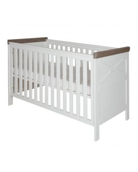 Savona White / Grey with cross - Cot bed 70x140