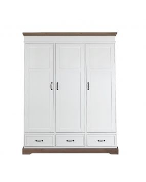 Savona White / Grey without cross - Wardrobe (3 doors)